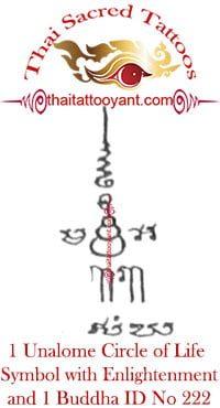 1 Unalome Circle of Life Symbol 1 Buddha Thai Tattoo ID No 222