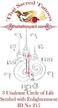 3 Unalome Symbol, Circle of Life-Enlightenment Thai Tattoo Yant ID No 215