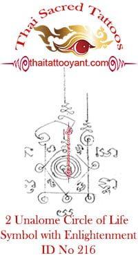 2 Unalome Symbol, Circle of Life-Enlightenment Thai Tattoo Yant ID No 216
