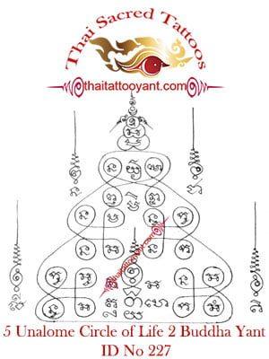 5 Unalome Circle of Life 2 Buddha Thai Tattoo Yant ID No 227