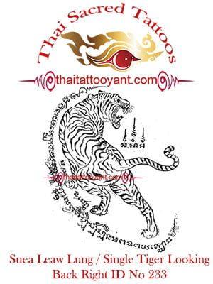 Single Tiger Suea Leaw Thai Tattoo Yant ID No 233