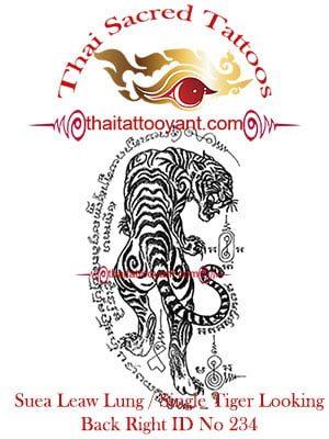 Single Tiger Suea Leaw Thai Tattoo Yant ID No 234