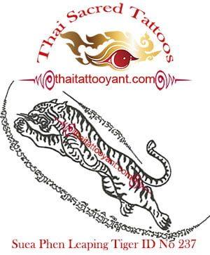 Suea Phen Leaping Tiger Left Thai Tattoo Yant ID No 237