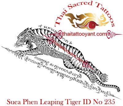 Suea Phen Leaping Tiger Thai Tattoo Yants ID No 235