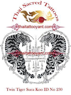 Twin Tiger Suea Koo Thai Tattoo Yant ID No 230