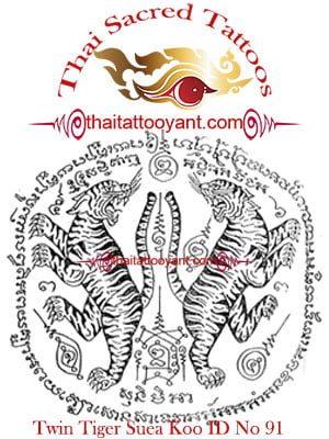 Twin Tiger Suea Koo Thai Tattoo Yant ID No 91